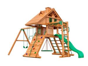 """Деревянная детская площадка для дачи """"Крепость с рукоходом"""" (Домик)"""