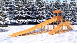 Зимняя деревянная горка Snow Fox 12 м с двумя горками