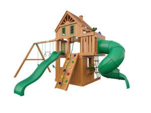 """Деревянная детская площадка для дачи """"Шато 2 с трубой"""" (Домик)"""