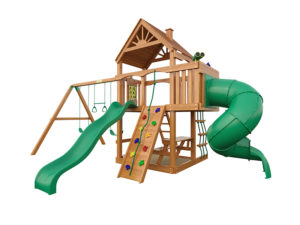 """Деревянная детская площадка для дачи """"Шато с трубой"""" (Дерево)"""