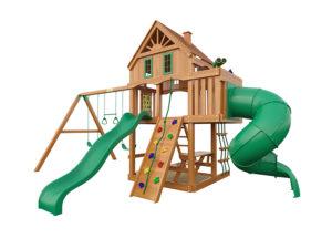 """Деревянная детская площадка для дачи """"Шато с трубой"""" (Домик)"""