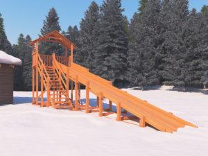 Зимняя горка Snow Fox (Домик), скат 10 м